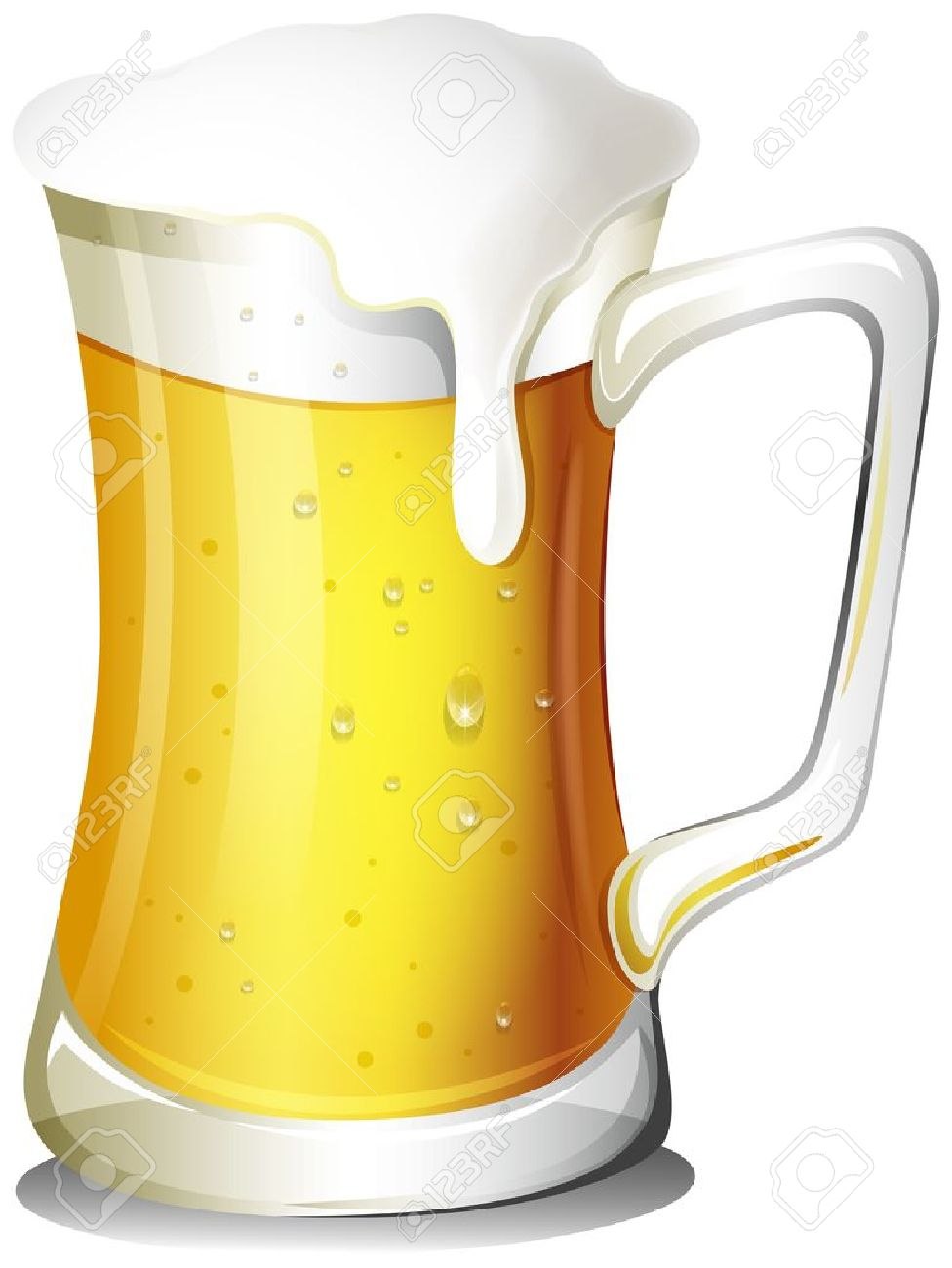 Illustration of a mug full of cold beer on a white background - 18610642