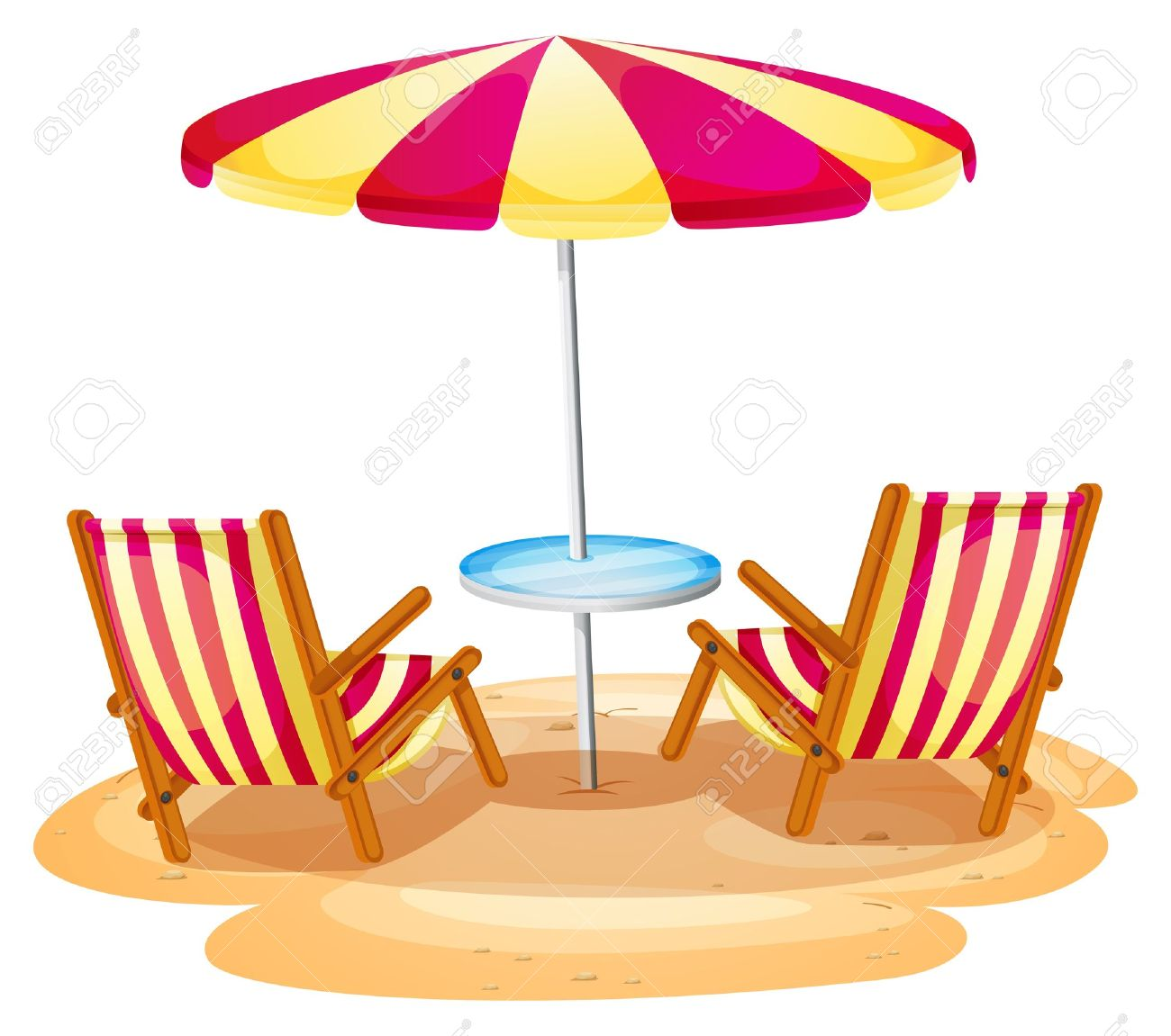 beach umbrella and chair. Simple Beach Illustration Of A Stripe Beach Umbrella And The Two Wooden Chairs On  White Background Stock Throughout Beach Umbrella And Chair B