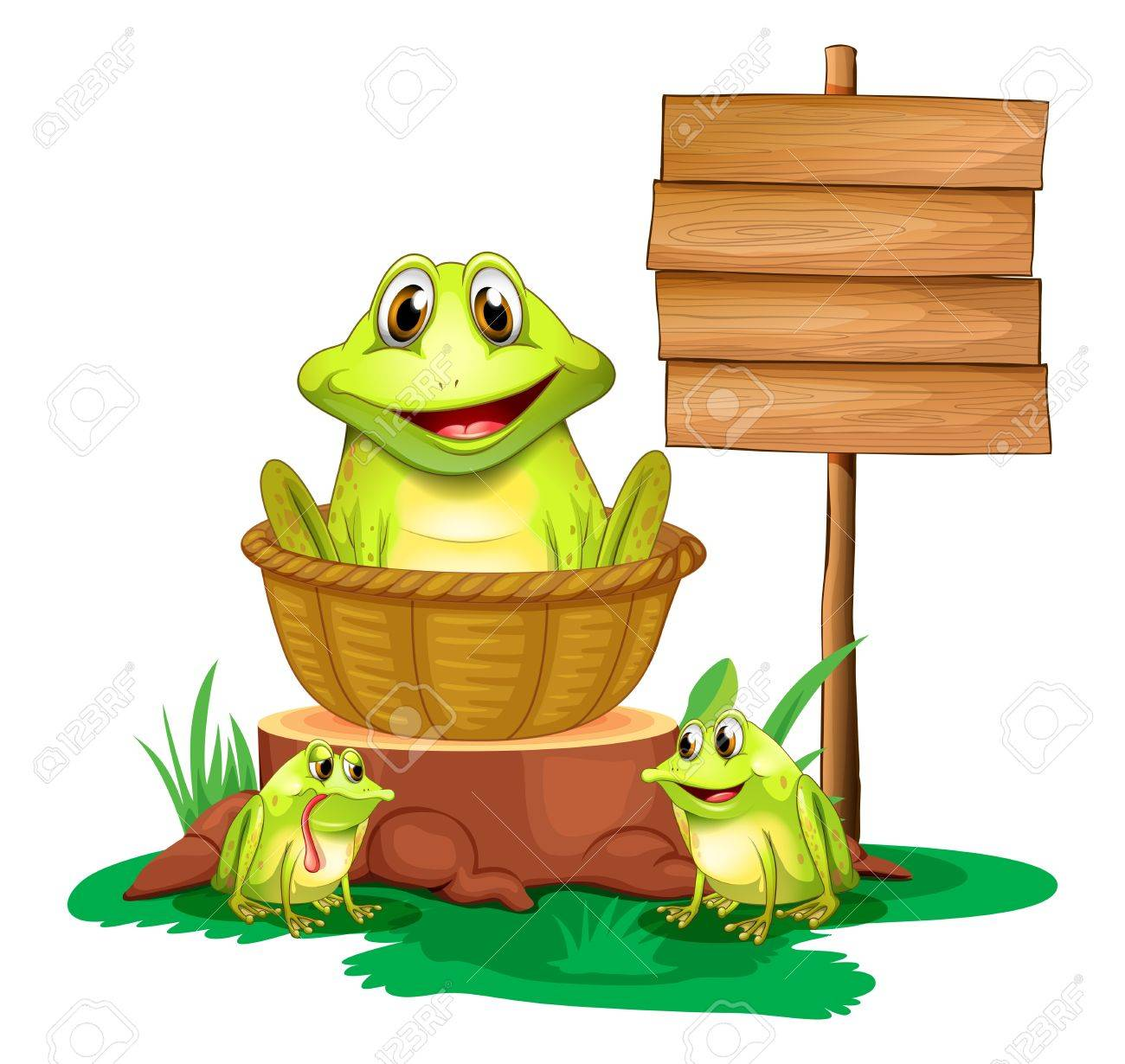 Illustration of a frog inside a basket near the empty signboard on a white background Stock Vector - 18610468