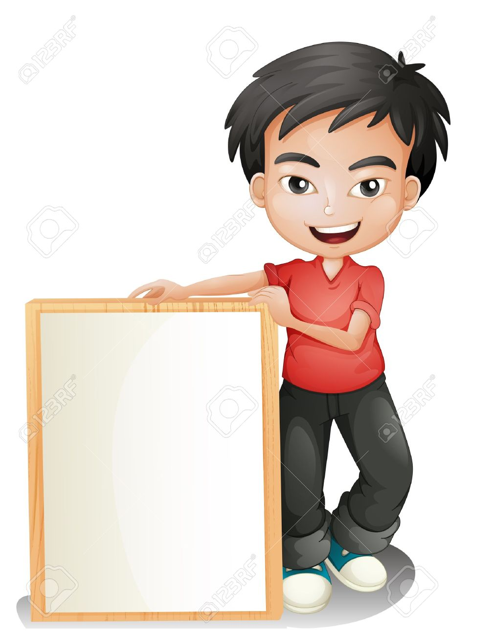Illustration of a boy holding an empty framed board on a white background Stock Vector - 18610541