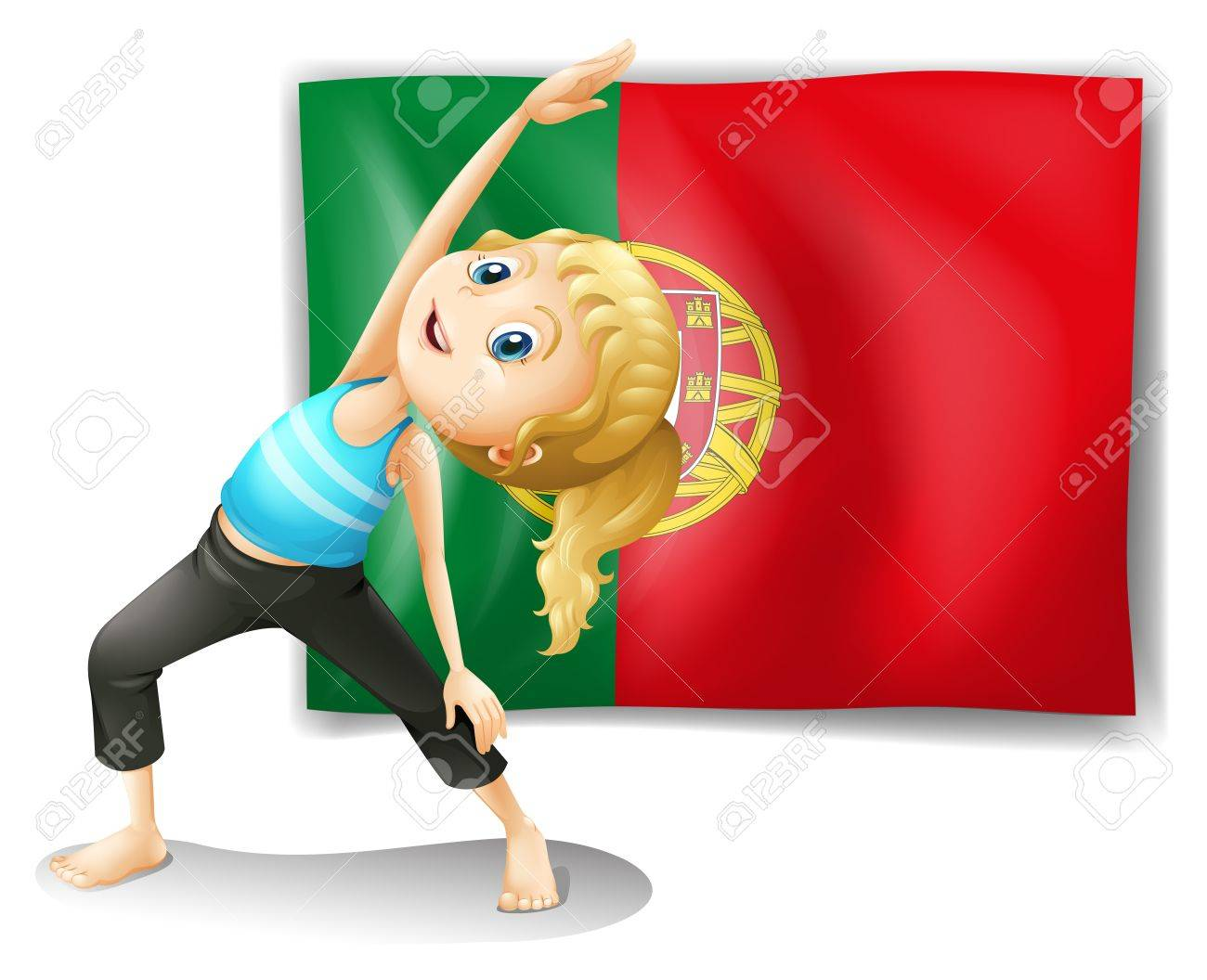 Illustration of a young woman in front of the Portugal flag on a white background Stock Vector - 18610452