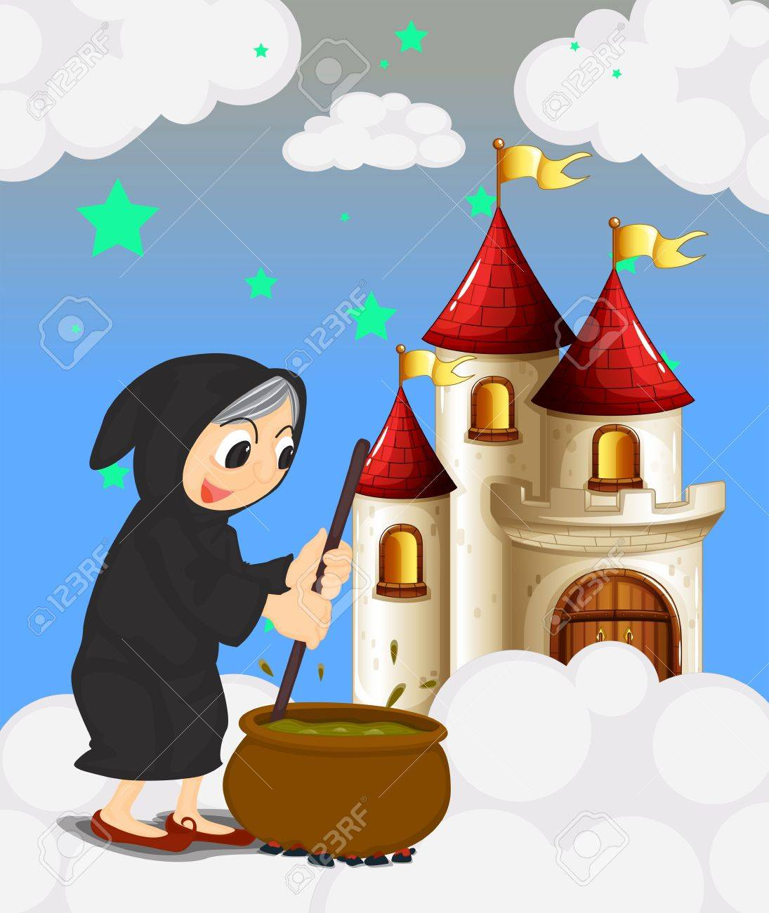 Illustration of a witch and her magical pot near the castle Stock Vector - 18607836