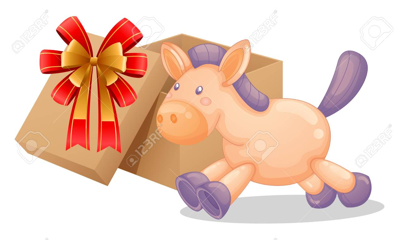 Illustration of a gift box beside a toy horse on a white background Stock Vector - 18607694