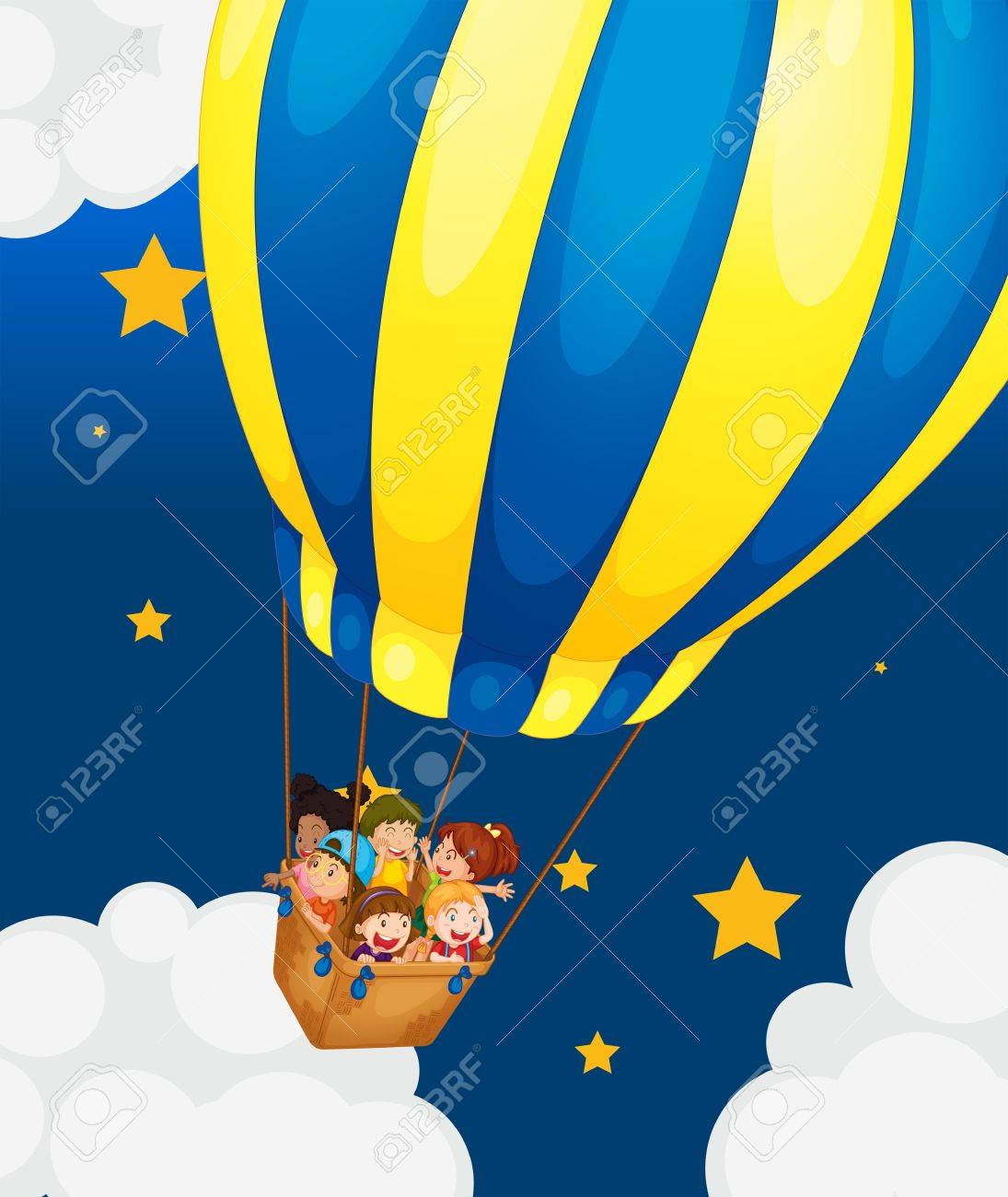 Illustration of the six kids riding in the air balloon Stock Vector - 18607635