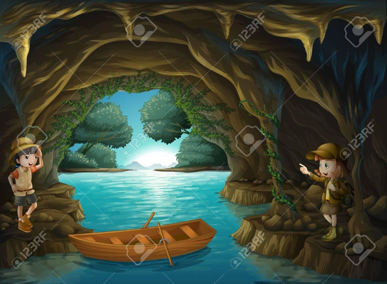 洞窟の中に若い探検家のイラストのイラスト素材ベクタ Image 18610900