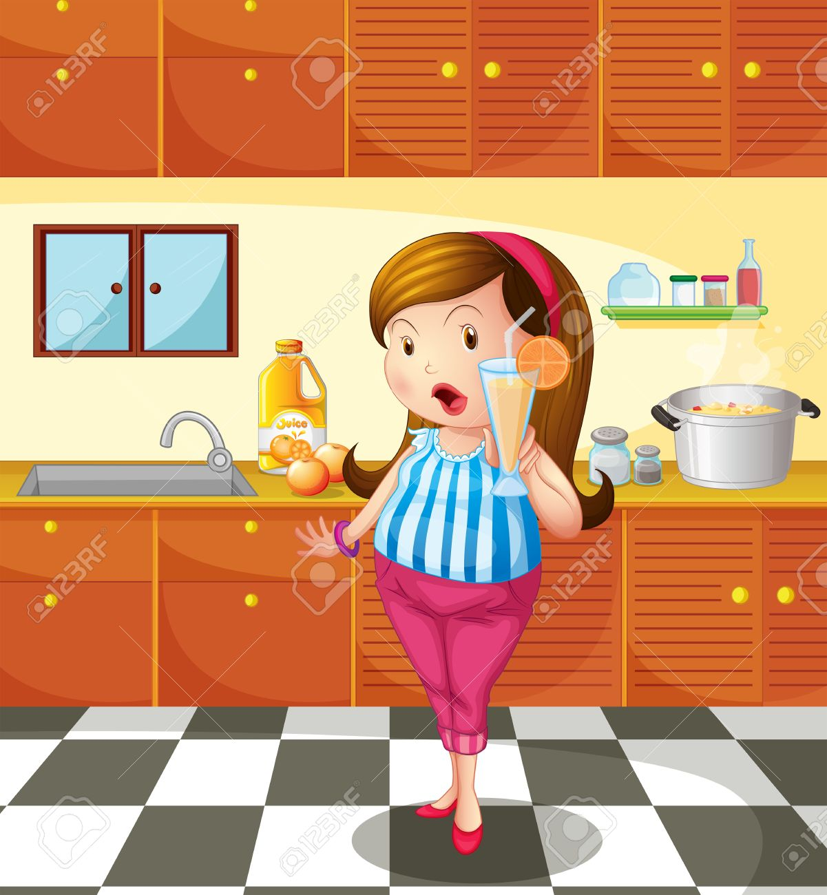Illustration of a lady holding an orange juice inside the kitchen Stock Vector - 18610766