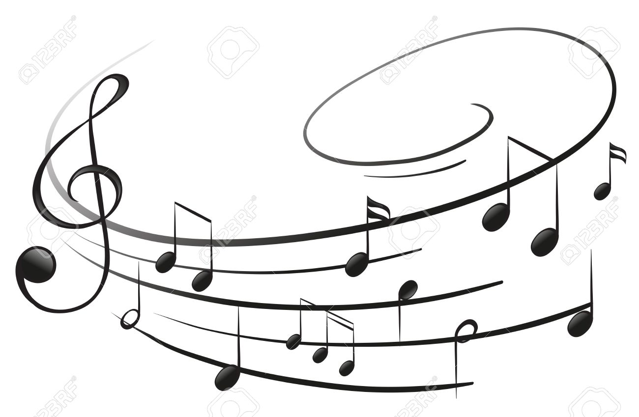 Illustration of the musical notes with the G-clef on a white background - 18607670