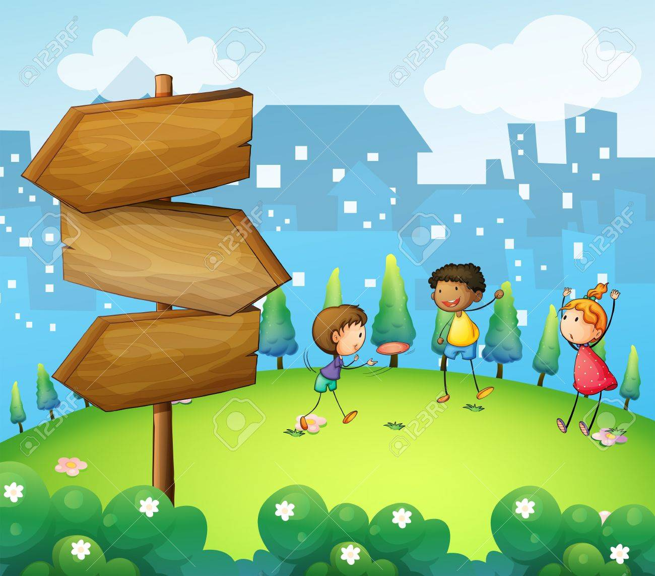 Clip art 187 board games clip art - Clip Art Illustration Of The Three Kids Playing In The Hill With Wooden Arrowboard Illustration