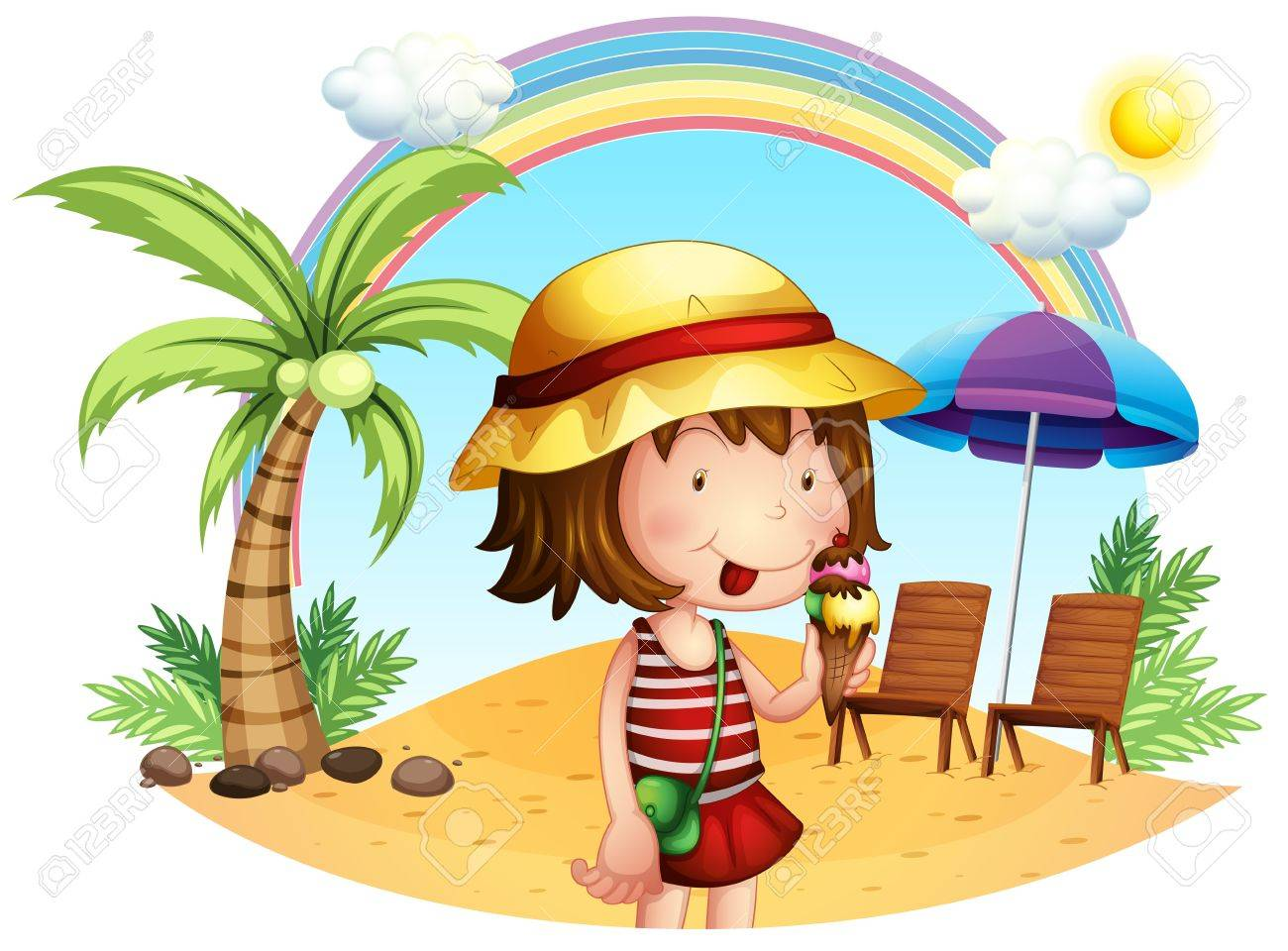 Illustration of a beach with a little girl on a white background Stock Vector - 18716840