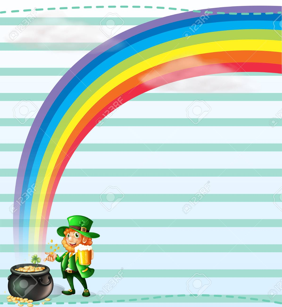 Illustration of a stationery with a rainbow and an old man Stock Vector - 18716950