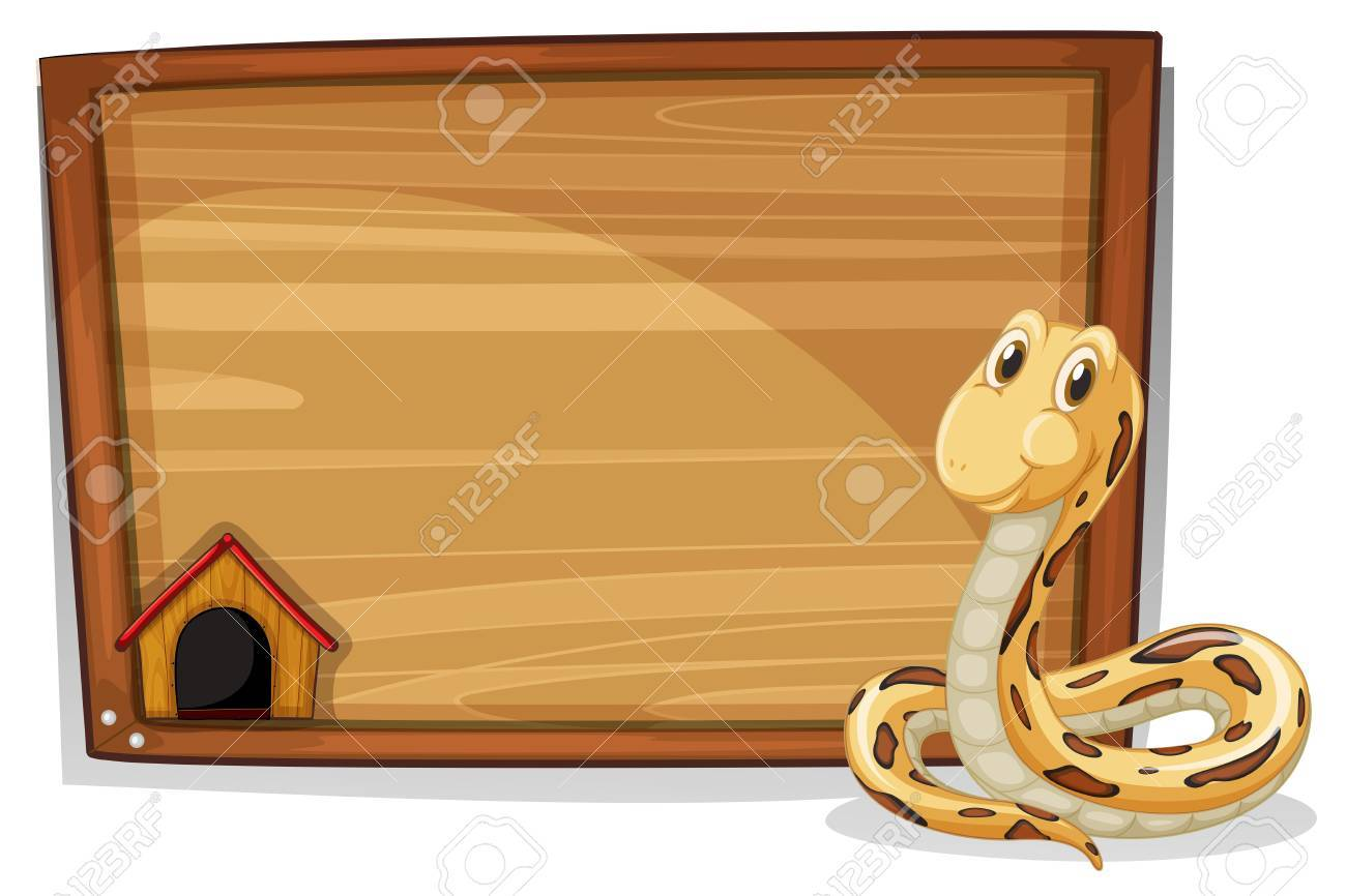 Illustration of an empty wooden signboard with a snake on a white background Stock Vector - 18716108