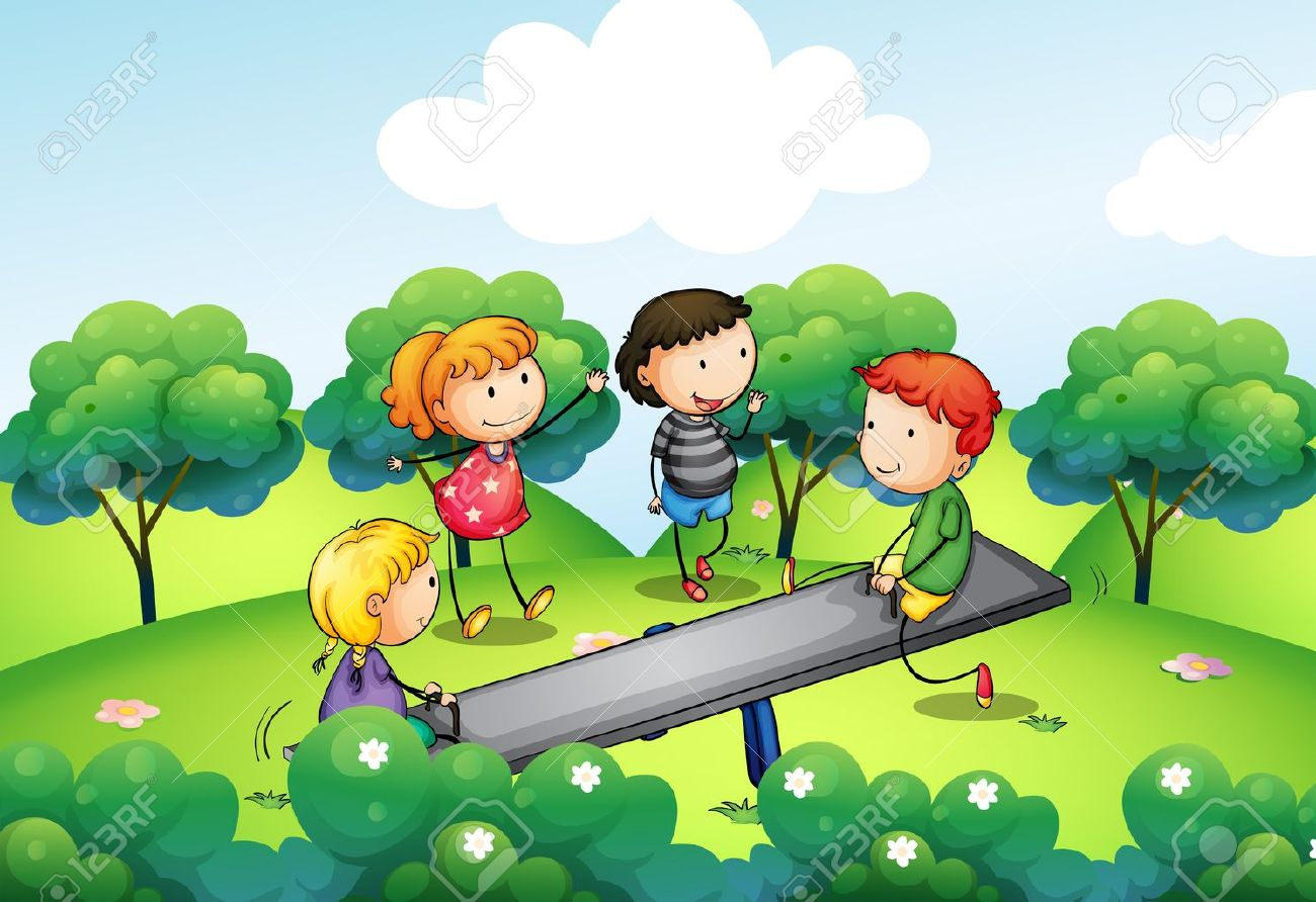 Illustration of the four kids playing with the seesaw at the hill Stock Vector - 18789438