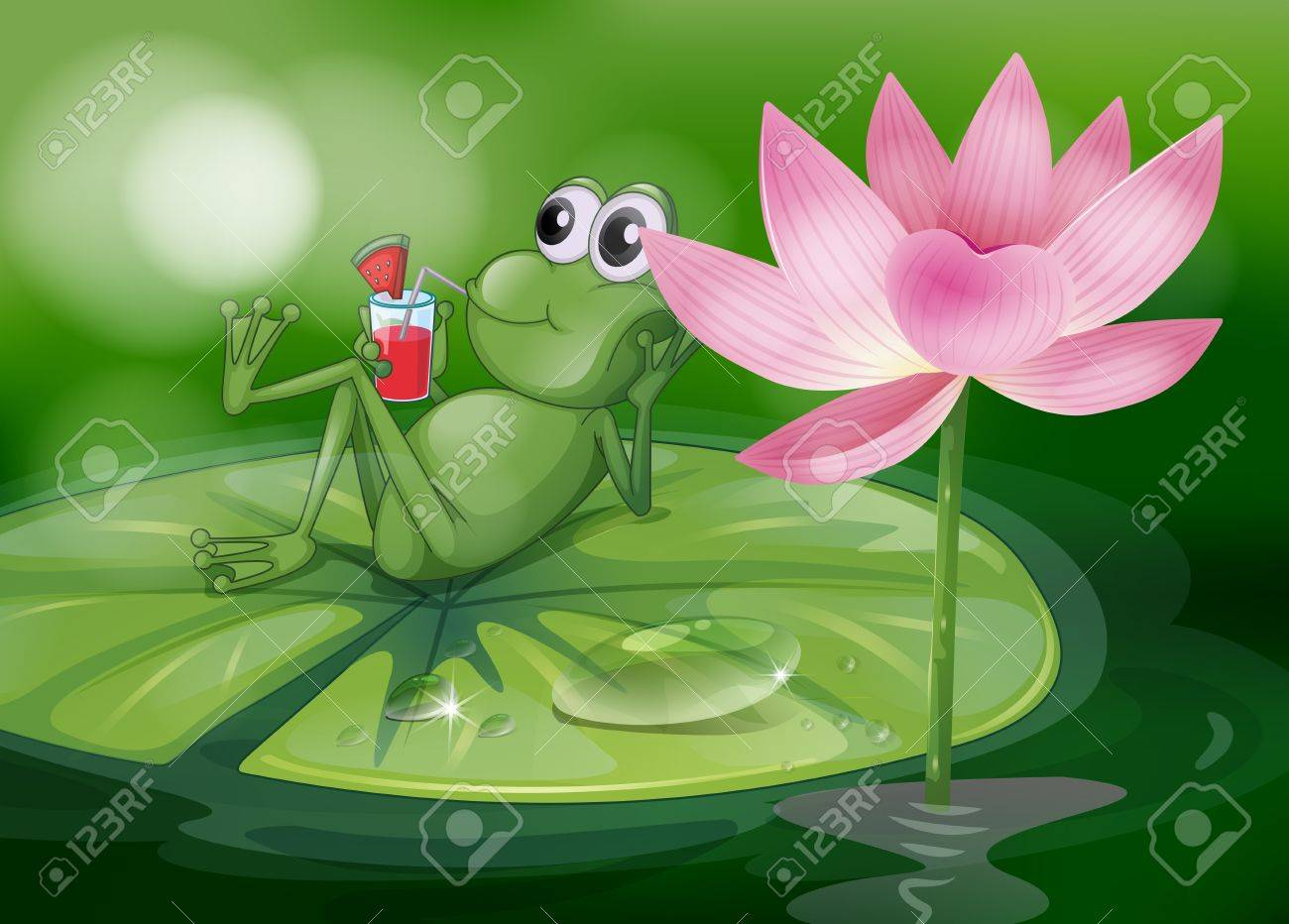 illustration of a frog above the waterlily royalty free cliparts