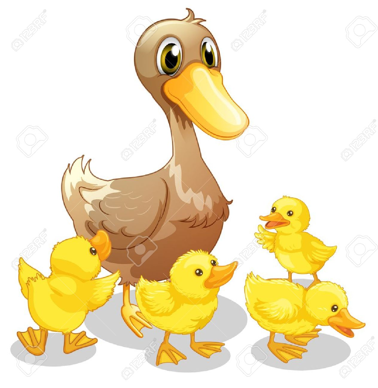 Illustration Of The Brown Duck And Her Four Yellow Ducklings ... for Duck And Duckling Clipart  197uhy