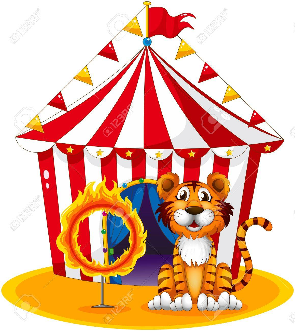 Illustration of a circus tent at the back of the tiger and the ring of fire on a white background Stock Vector - 18789447