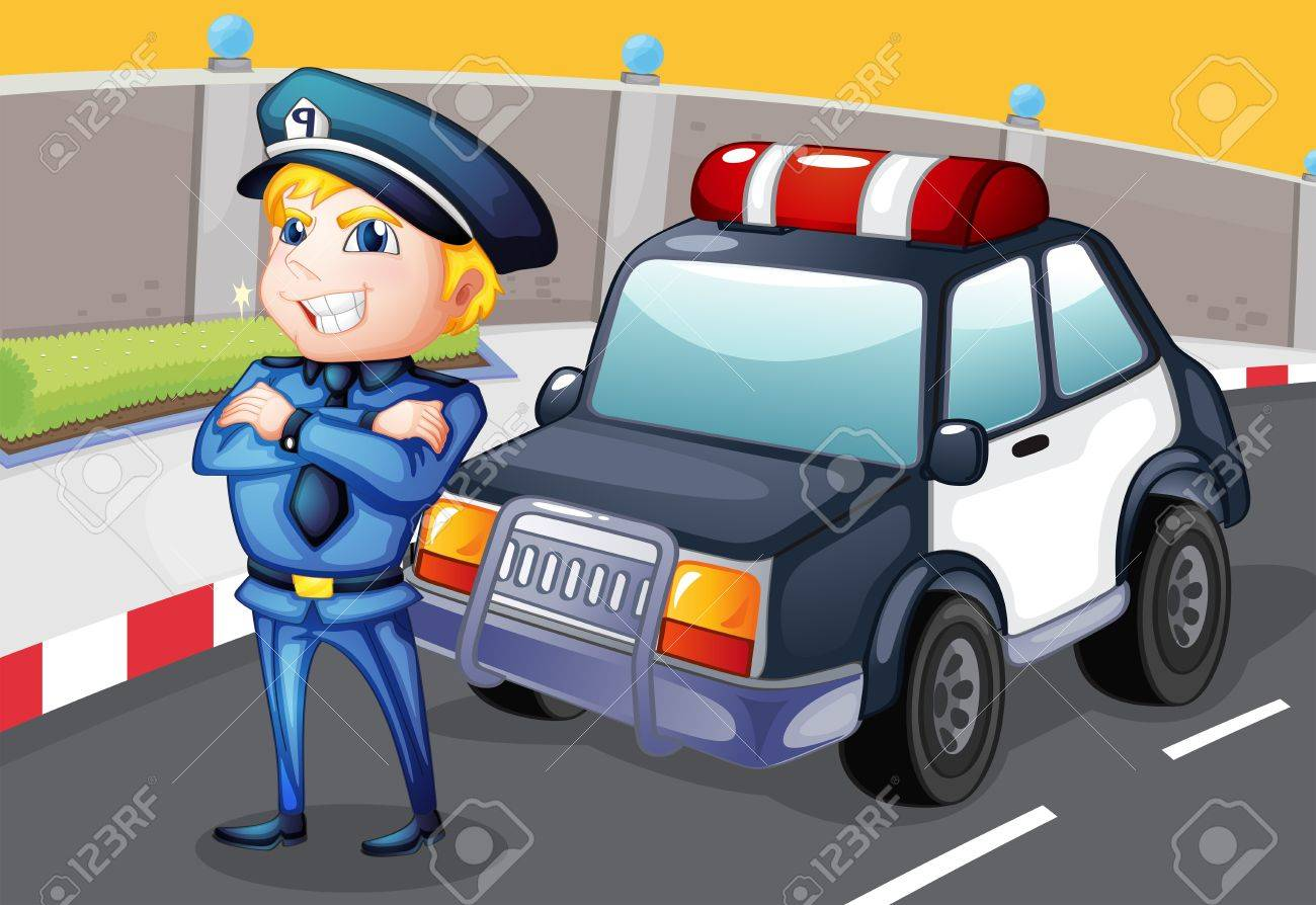 Illustration of a smiling policeman standing in front of a police car Stock Vector - 18789394
