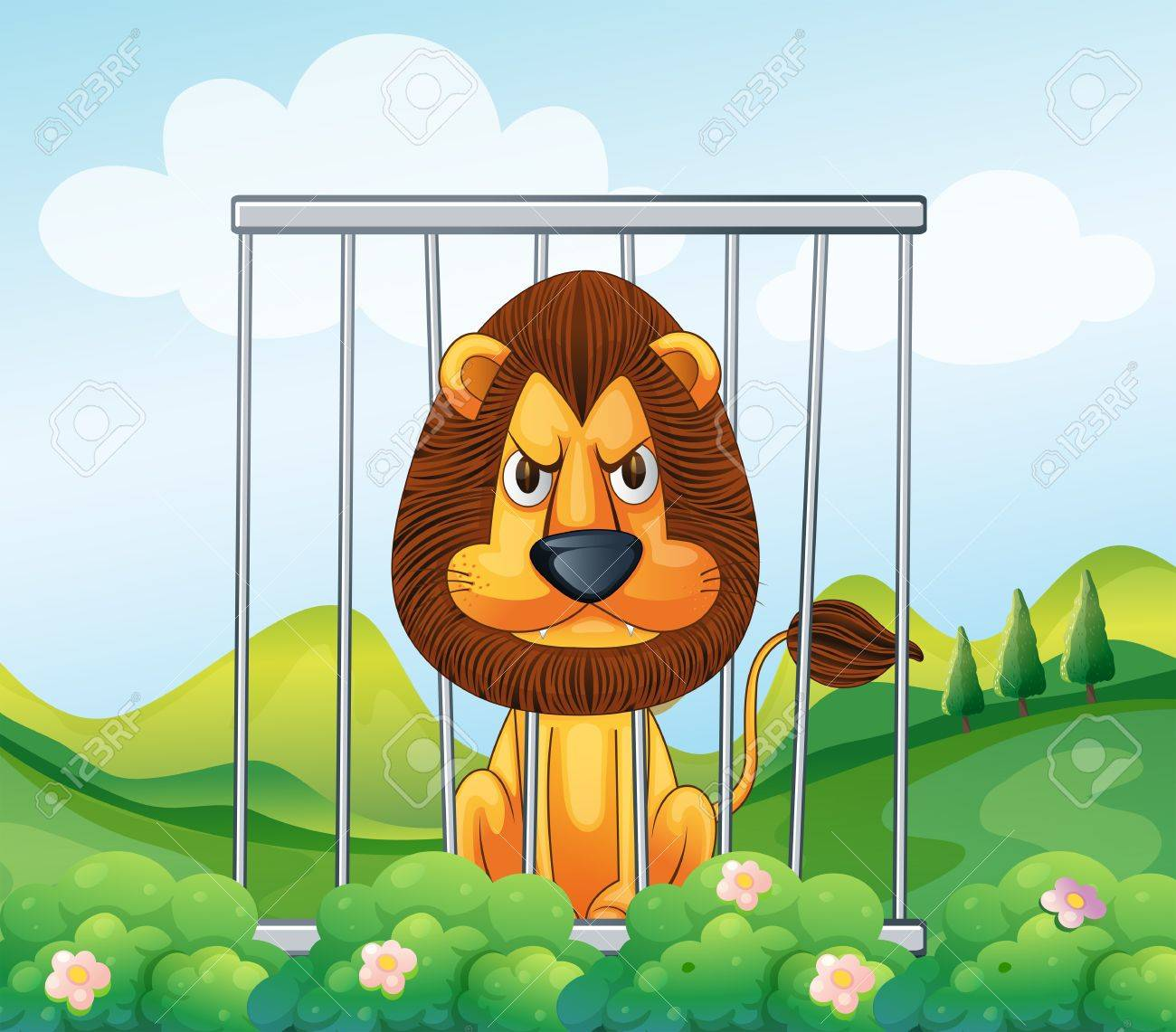 illustration of a cage in the hill with a lion royalty free