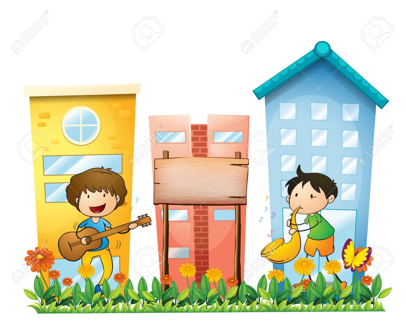 Illustration of the two musicians near an empty wooden signboard on a white background Stock Vector - 18825314