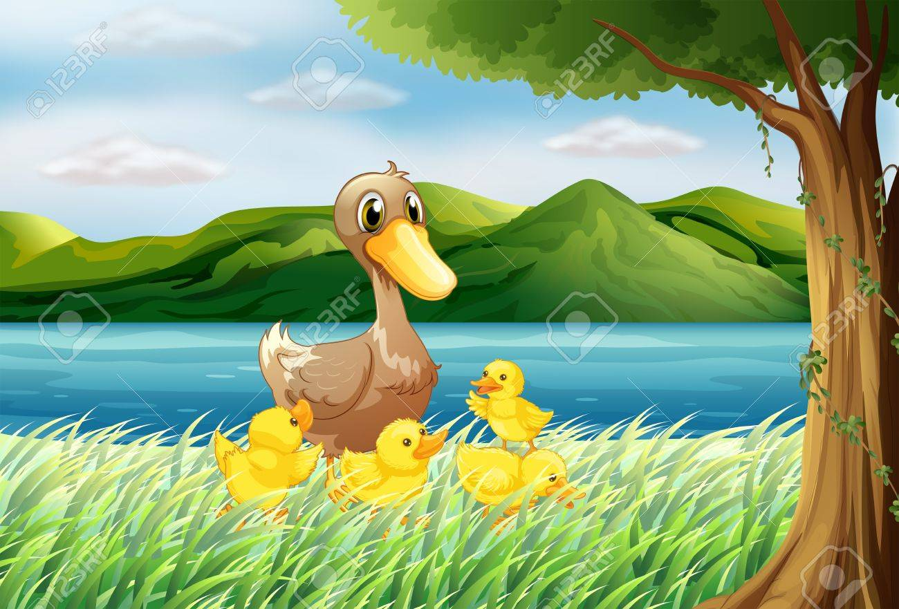 Illustration of the five ducks at the riverbank Stock Vector - 18825491