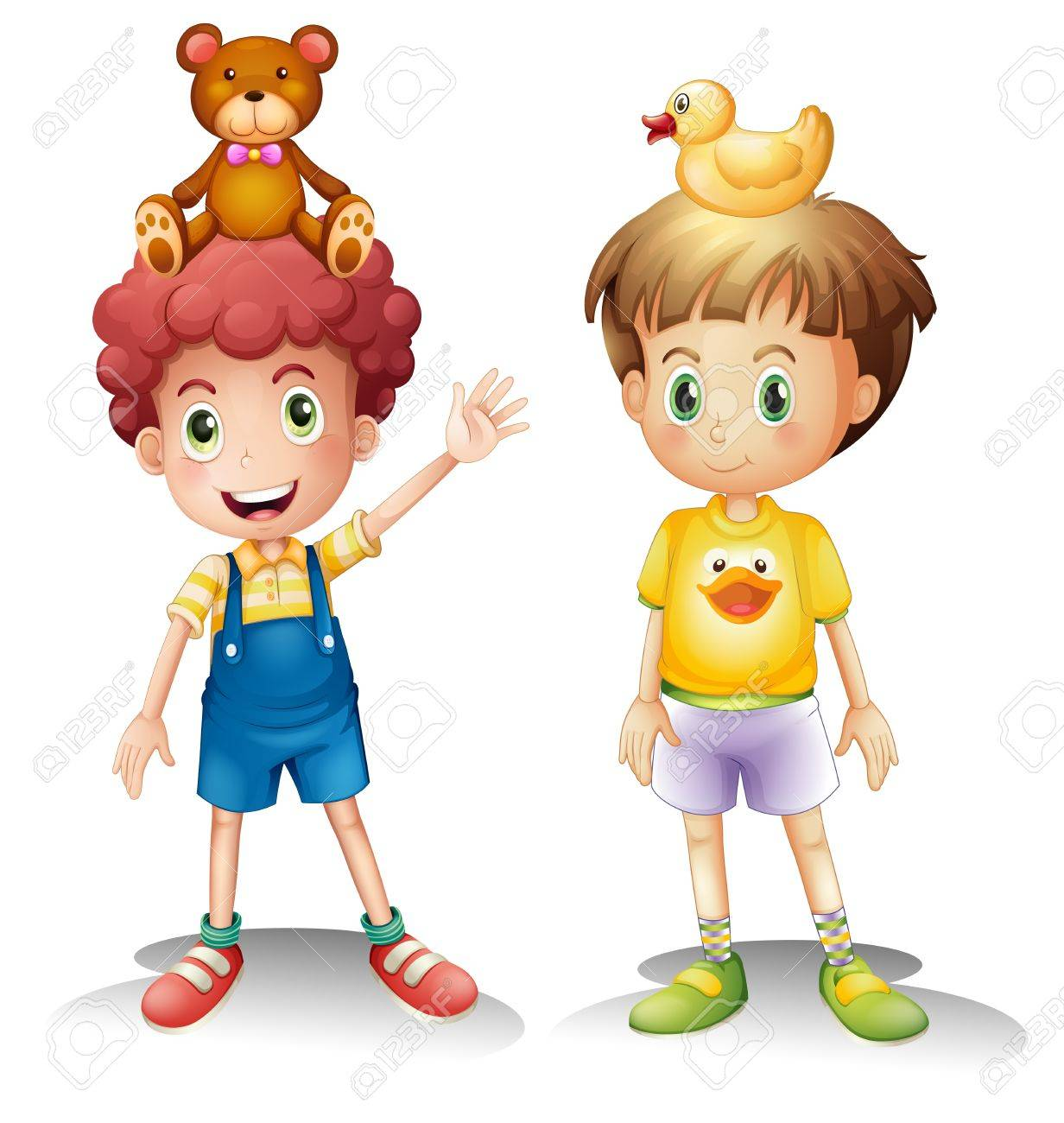 Illustration of the two boys with their toys above their heads on a white background Stock Vector - 18825294