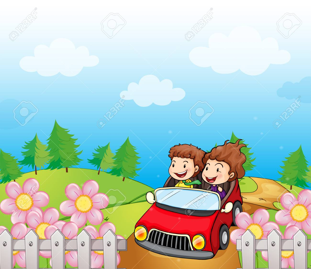 Illustration of a red car with a young girl and boy Stock Vector - 18825107