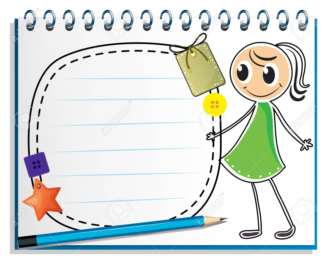 Illustration of a notebook with a sketch of a girl with a green dress on a white background Stock Vector - 18824951