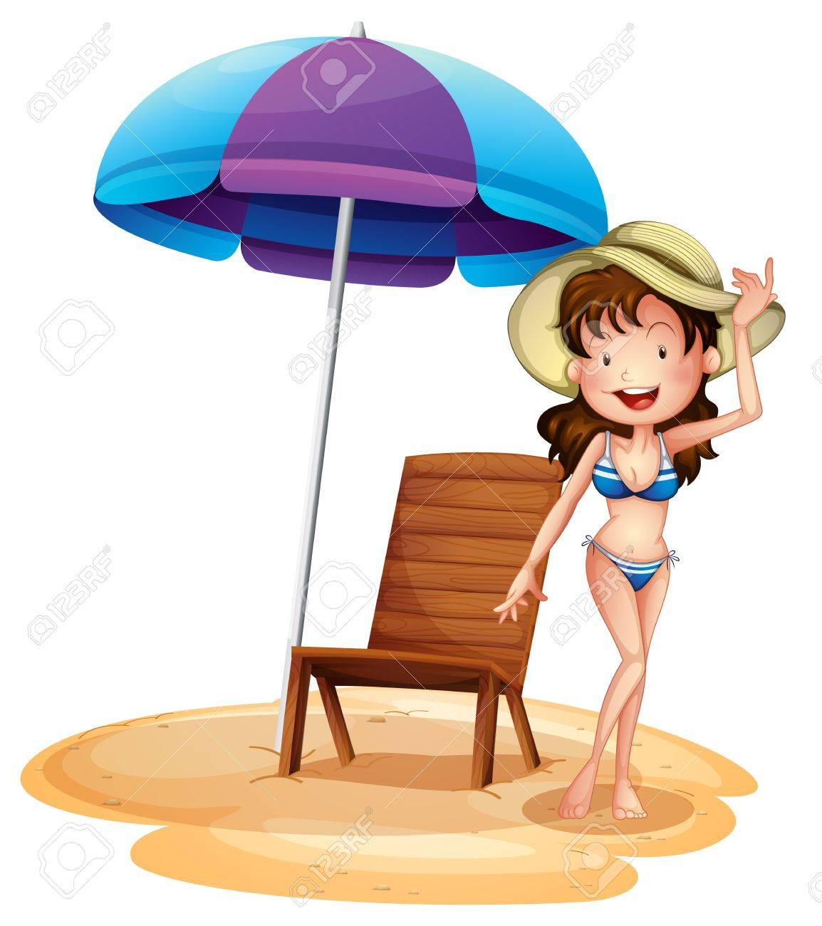 Illustration of a girl wearing a bikini beside a summer chair and umbrella on a white background Stock Vector - 18825288