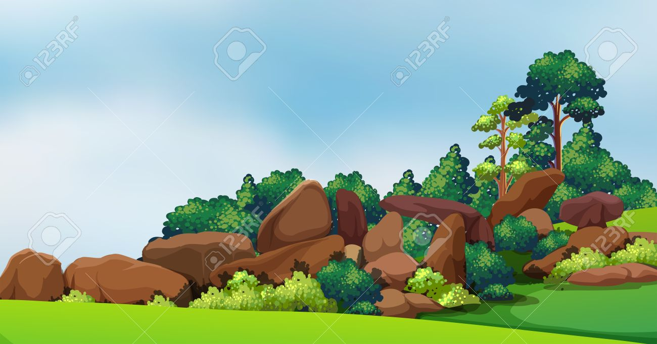 Illustration of a forest with big rocks Stock Vector - 18825262