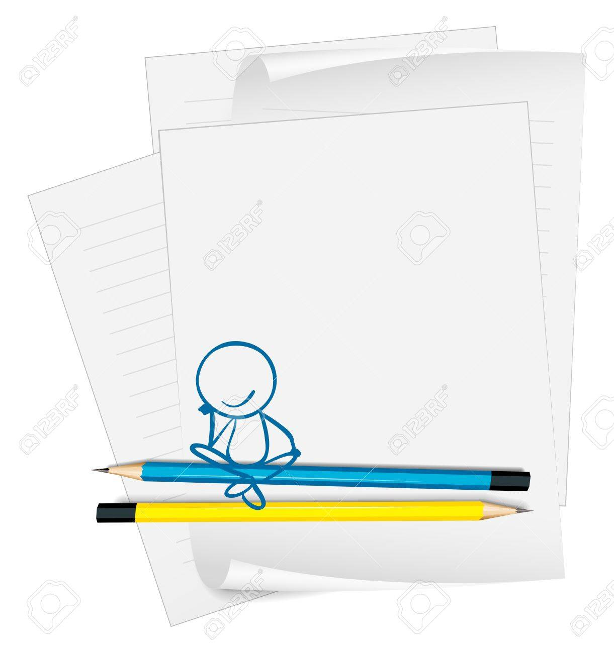 Illustration of a paper with a drawing of a boy sitting on a white background Stock Vector - 18824905