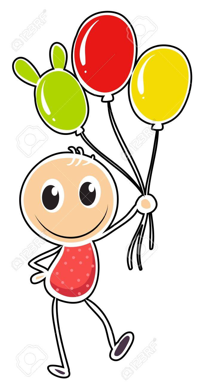 Illustration of a young boy with three balloons on a white background Stock Vector - 18824894