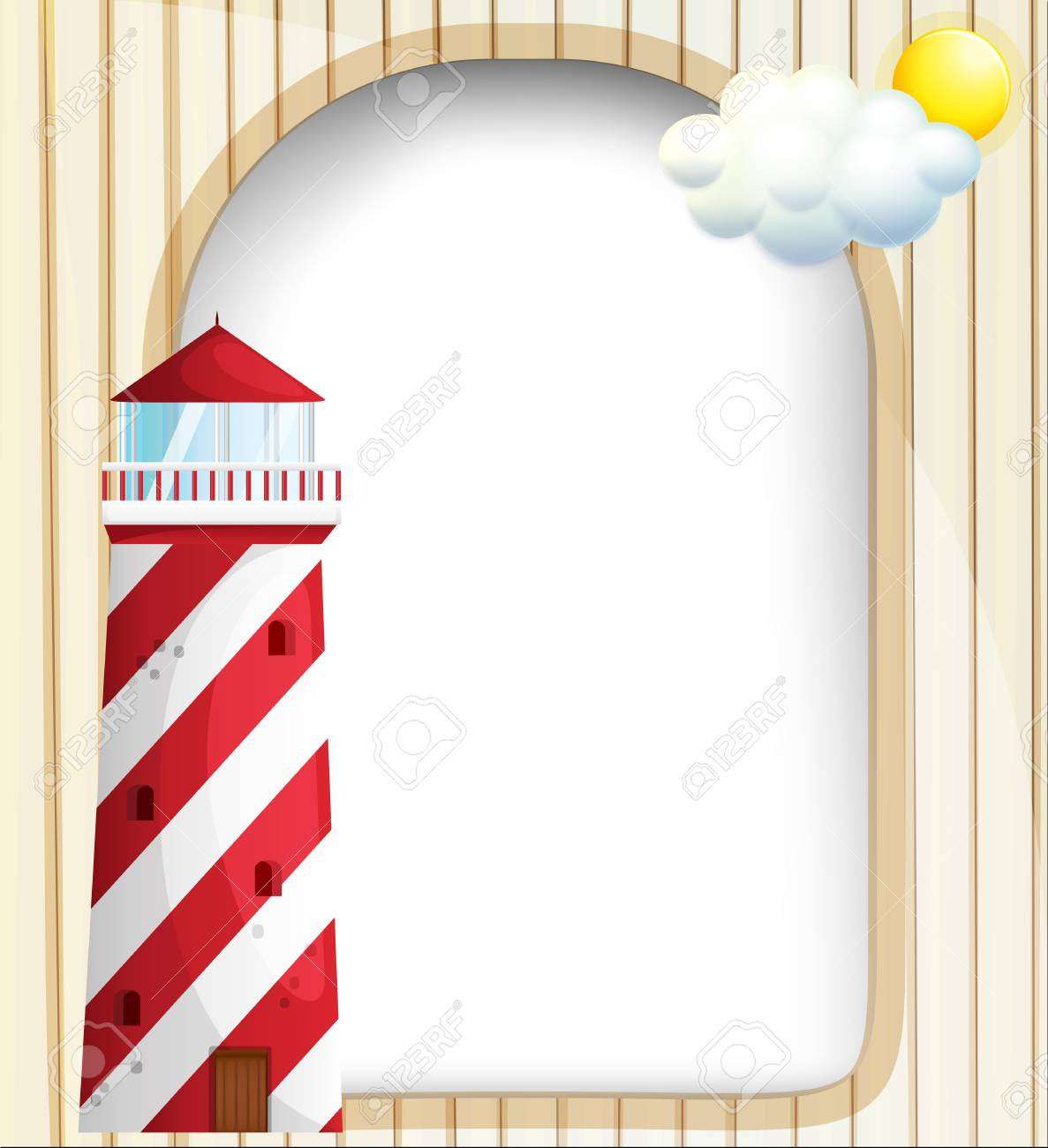 Illustration of a lighthouse in front of an empty template Stock Vector - 18825184