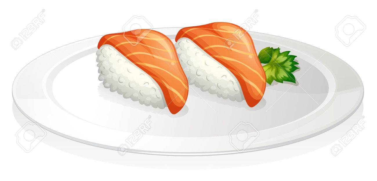 Illustration of a plate with two sets of sushi on a white background Stock Vector - 18825168