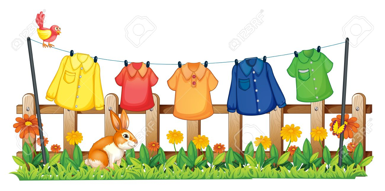 illustration of a garden with hanging clothes and a bunny on rh 123rf com clip art of clothing items clip art of clothing items