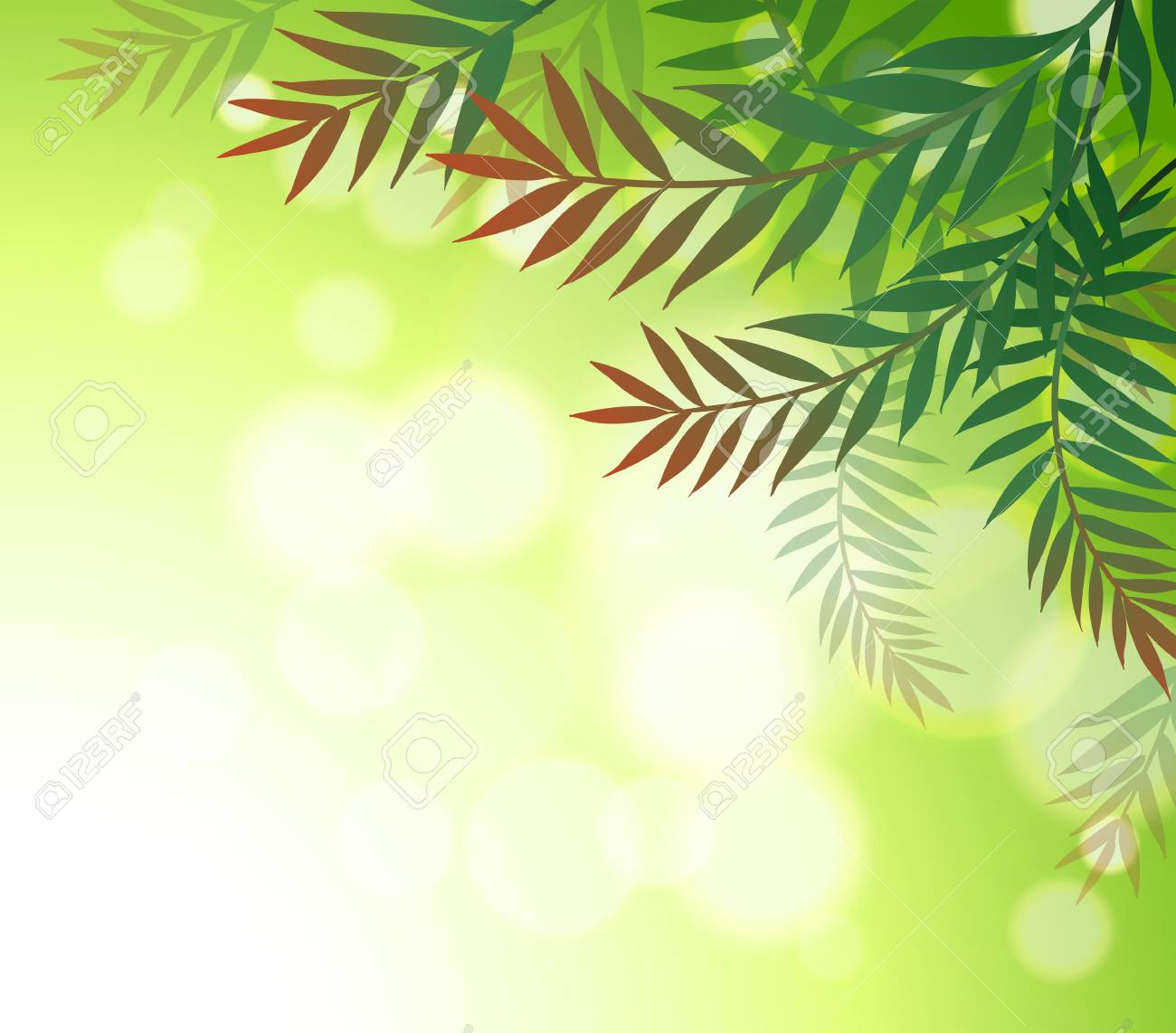 Illustration of a green stationery with leaves Stock Vector - 18824991