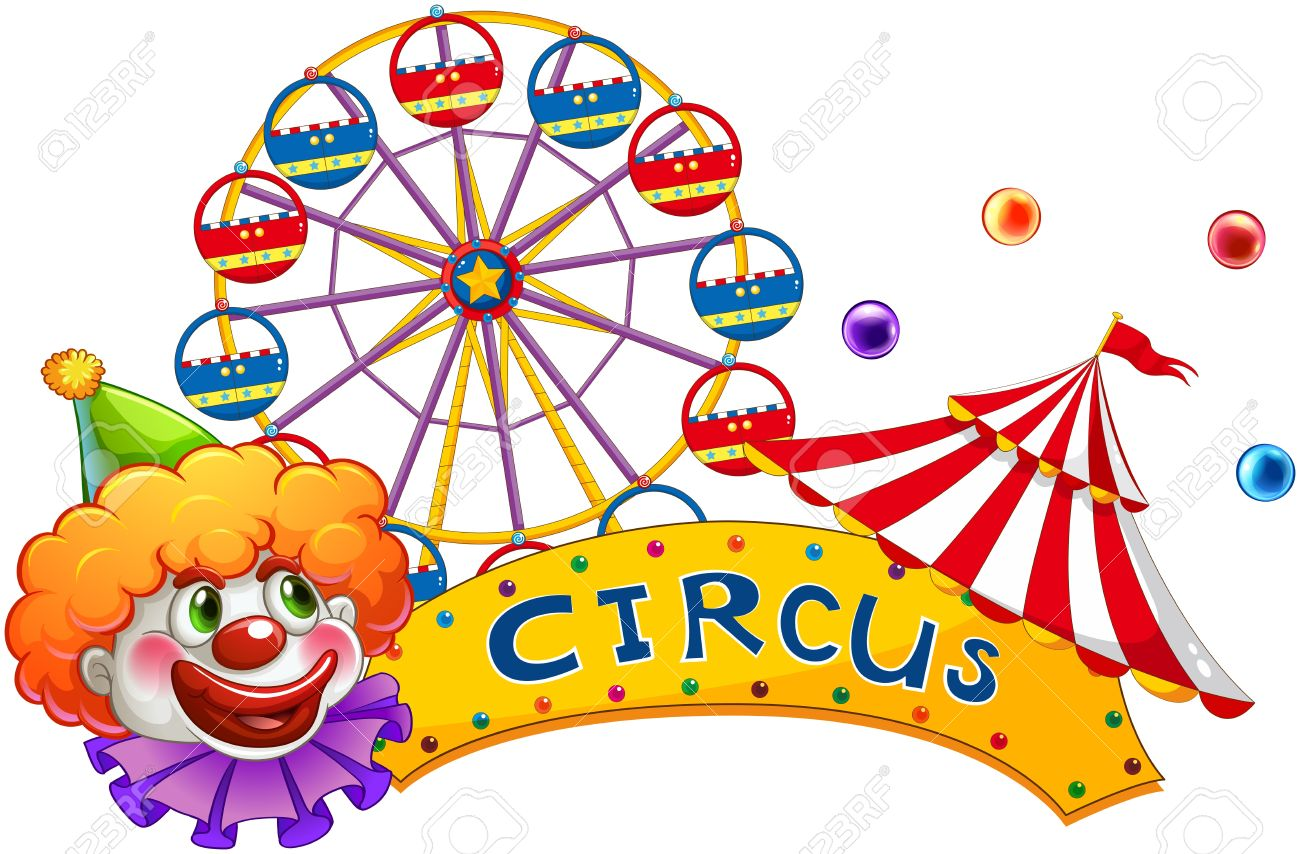 illustration of a clown at the circus show on a white background