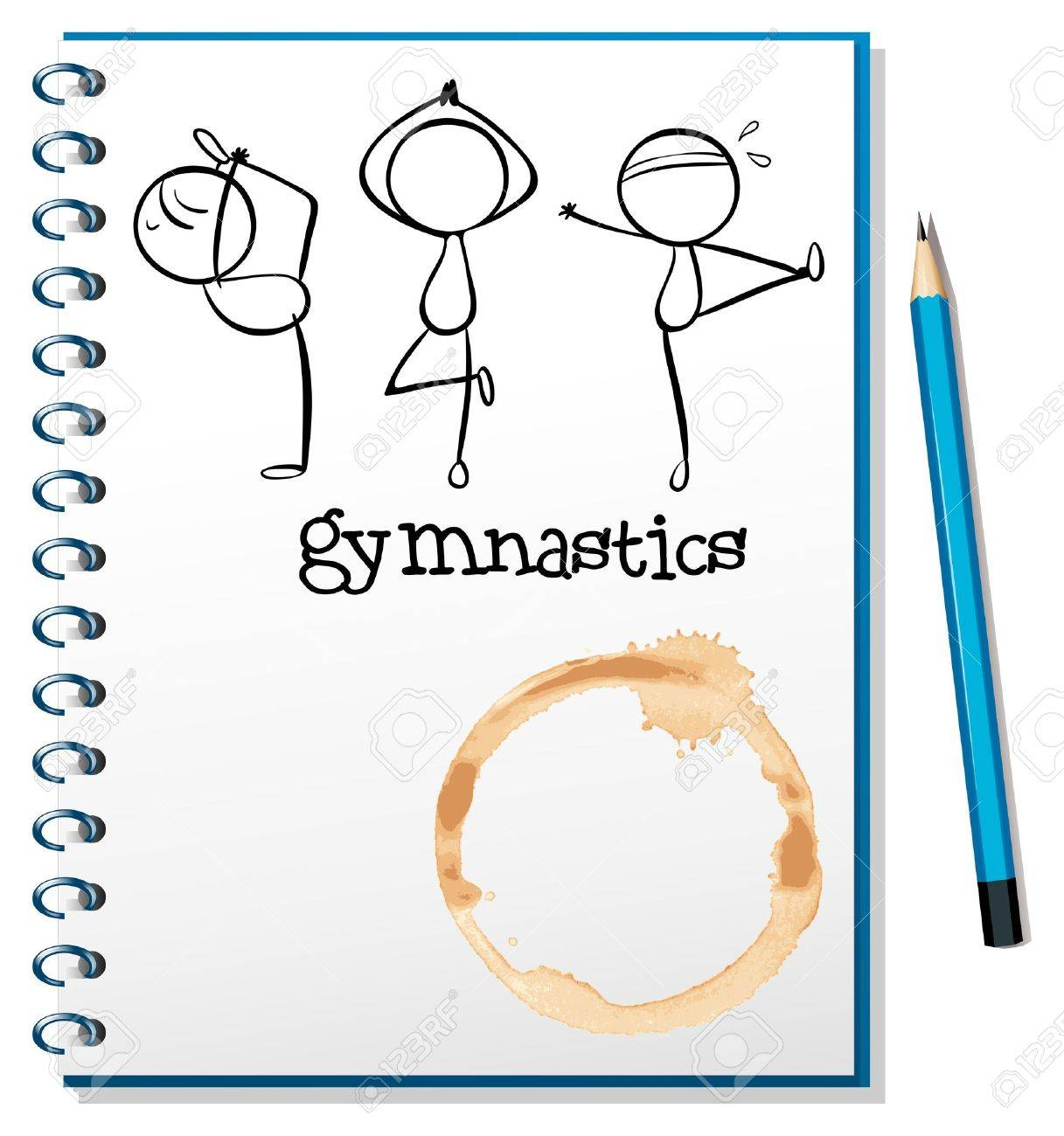 Illustration of a notebook with a sketch of the three gymnasts on a white background Stock Vector - 18834039