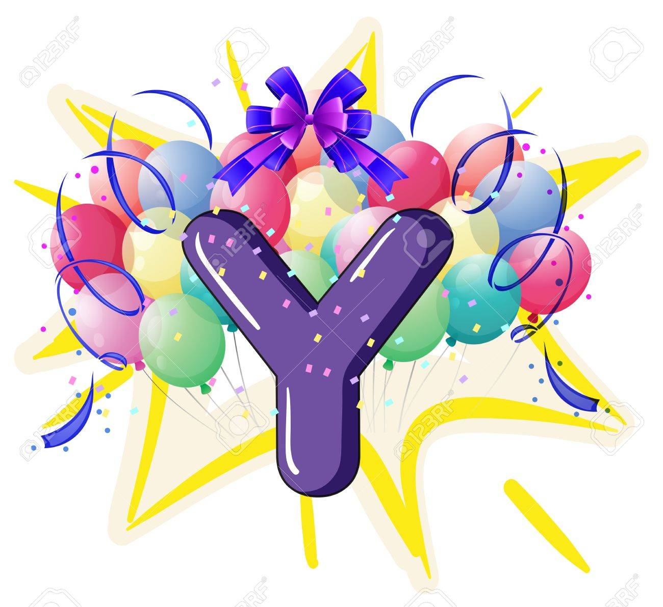 Illustration of balloons and celebration behind letter Stock Vector - 18835889