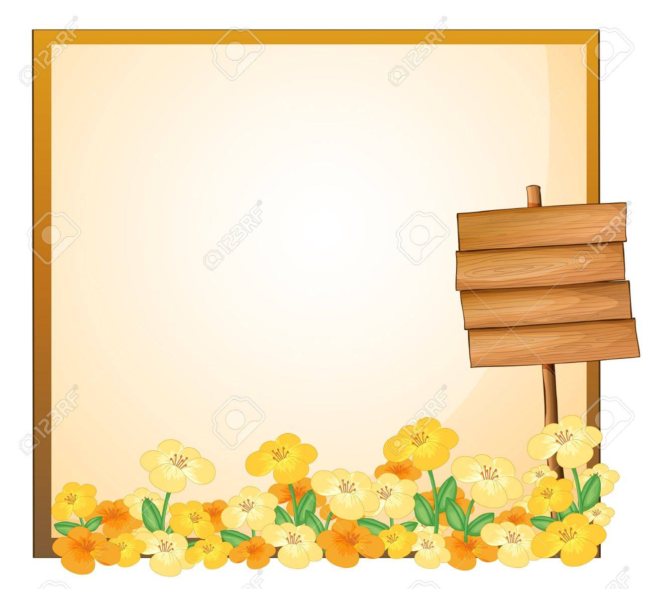 Illustration of an empty template with a wooden signage on a white background Stock Vector - 18835921