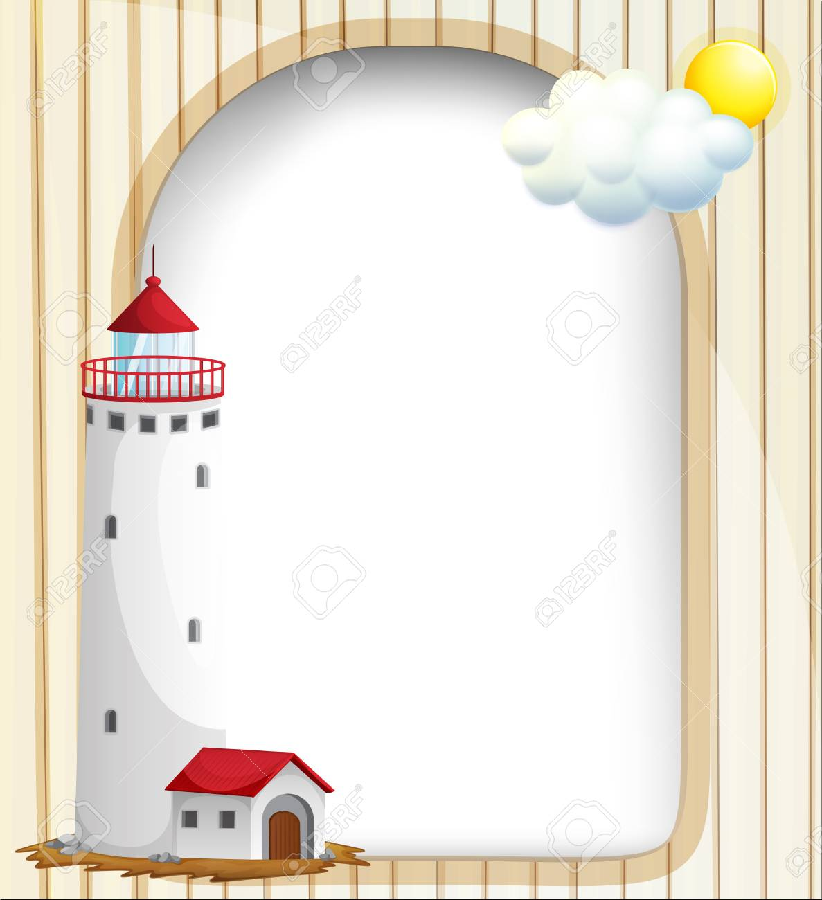 Illustration of an empty template with a high tower Stock Vector - 18835960