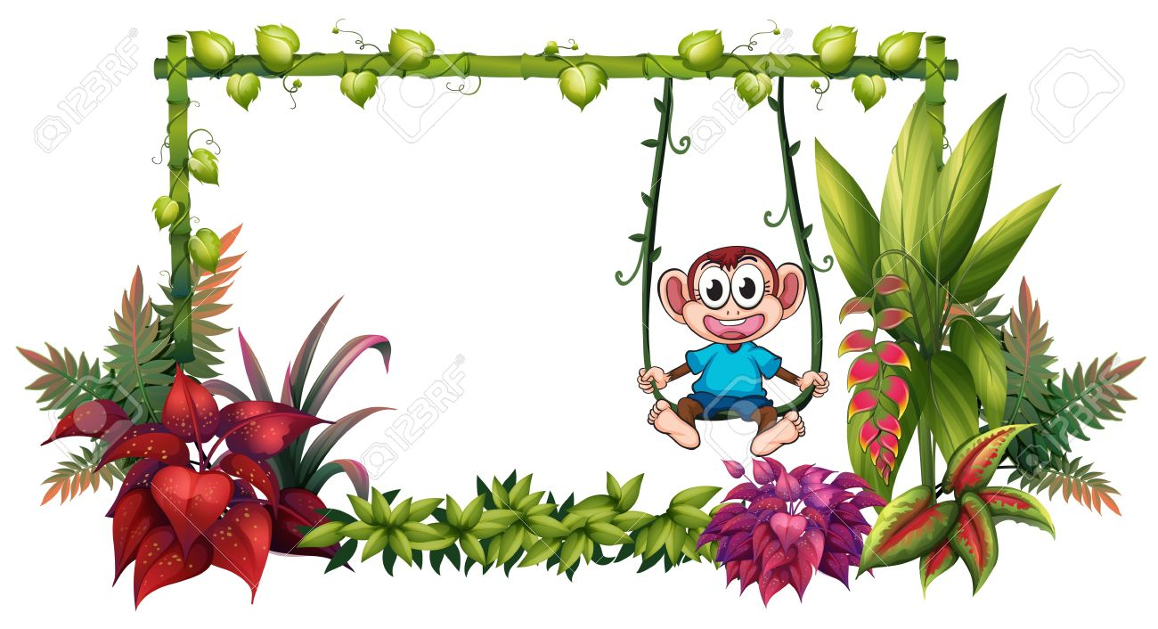 illustration of an empty frame made of bamboo with a monkey on illustration of an empty - Monkey Picture Frame