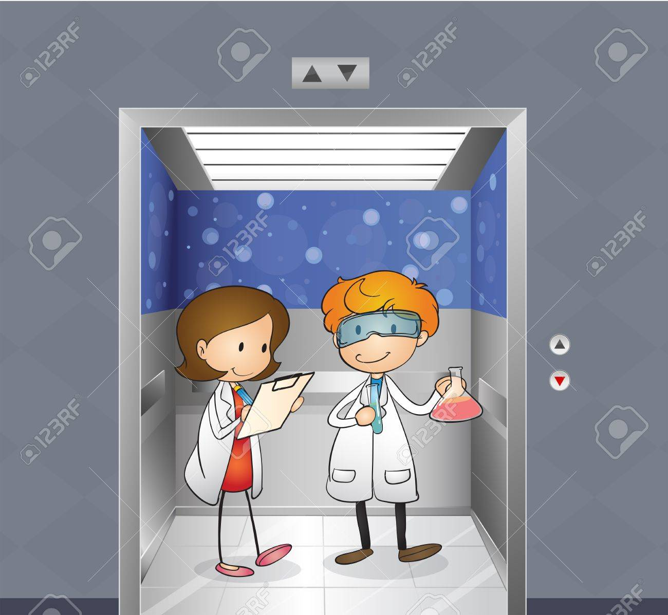 Illustration of the two doctors inside the elevator Stock Vector - 18836198