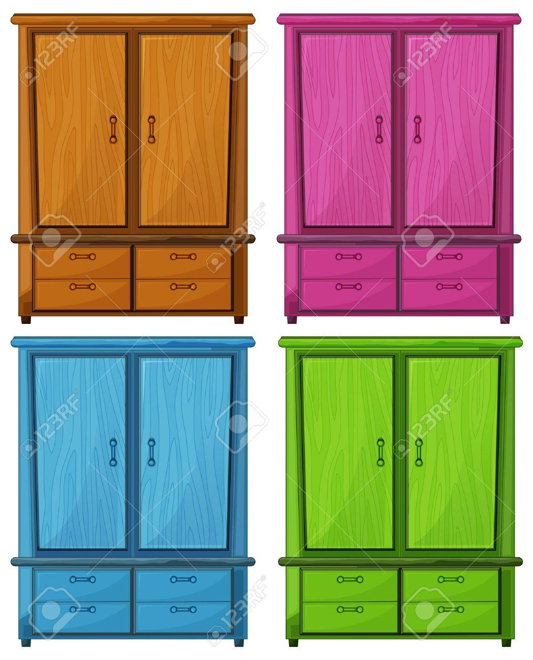 Illustration of the four different colors of a wooden cabinet on a white background Stock Vector - 18836302