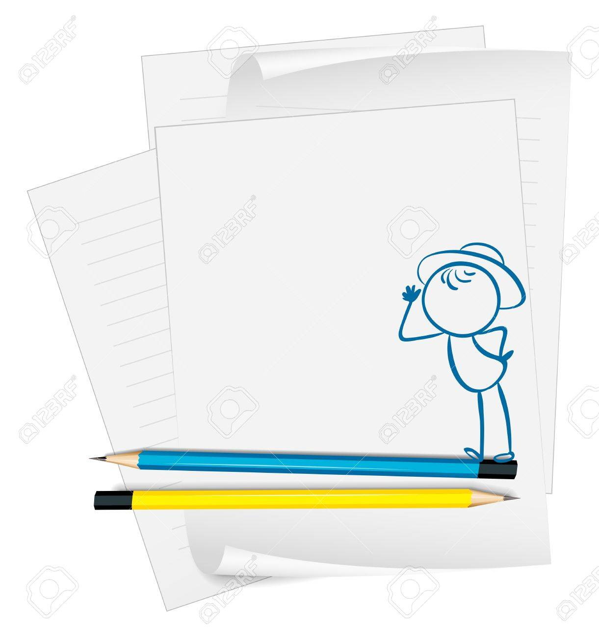 Illustration of a paper with a drawing of a boy wearing a hat on a white background Stock Vector - 18859563