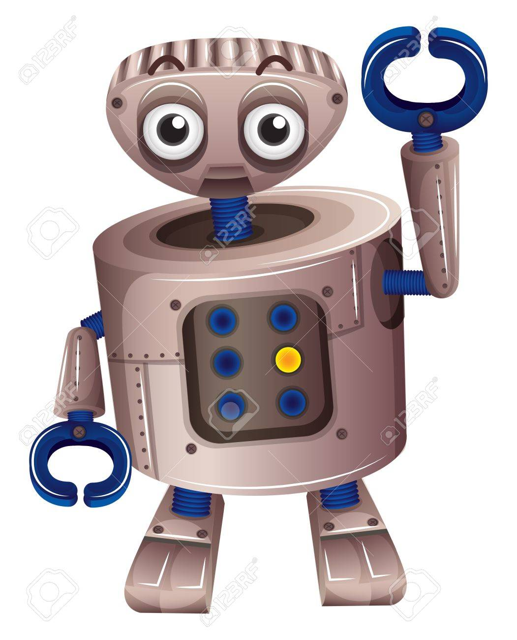 Illustration of a brown robot on a white background Stock Vector - 18859588