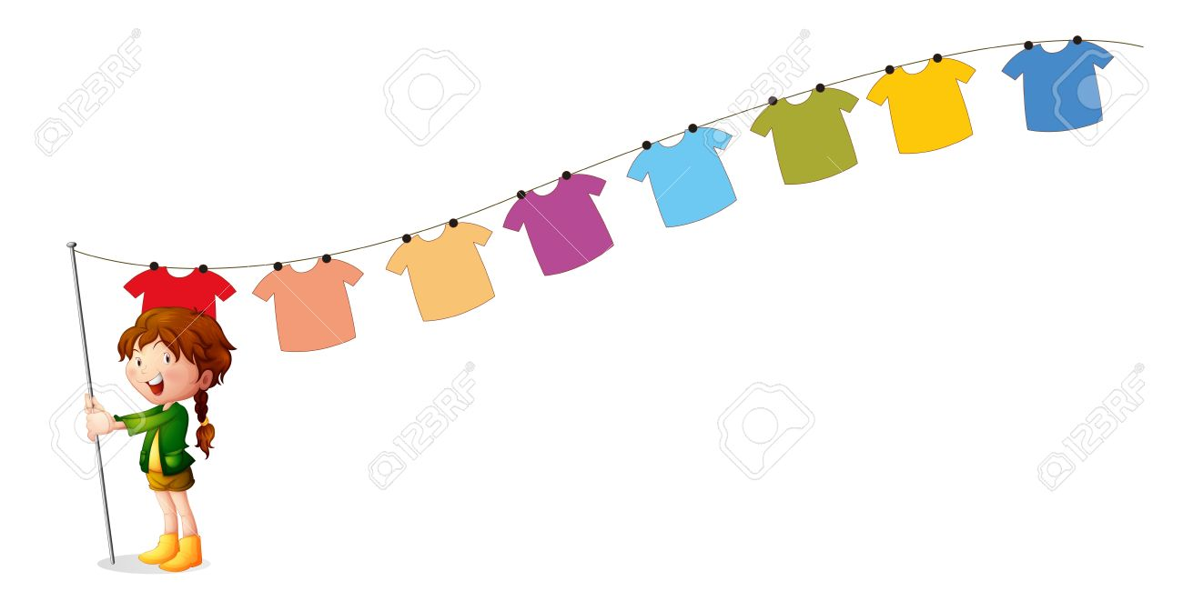 Illustration of a girl holding a stick with hanging clothes on a white background Stock Vector - 18859638