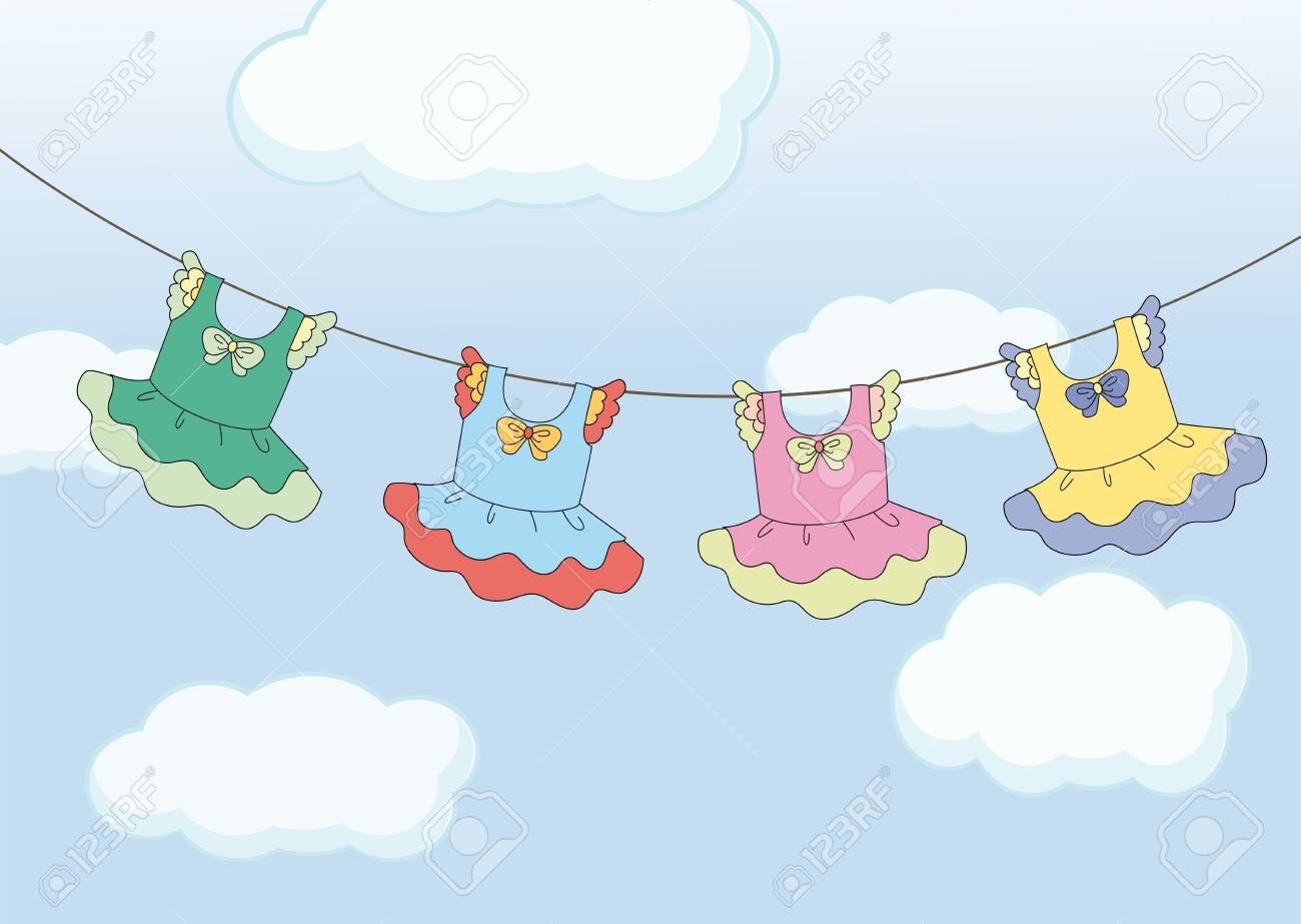 Illustration of the four hanging dresses Stock Vector - 18859567