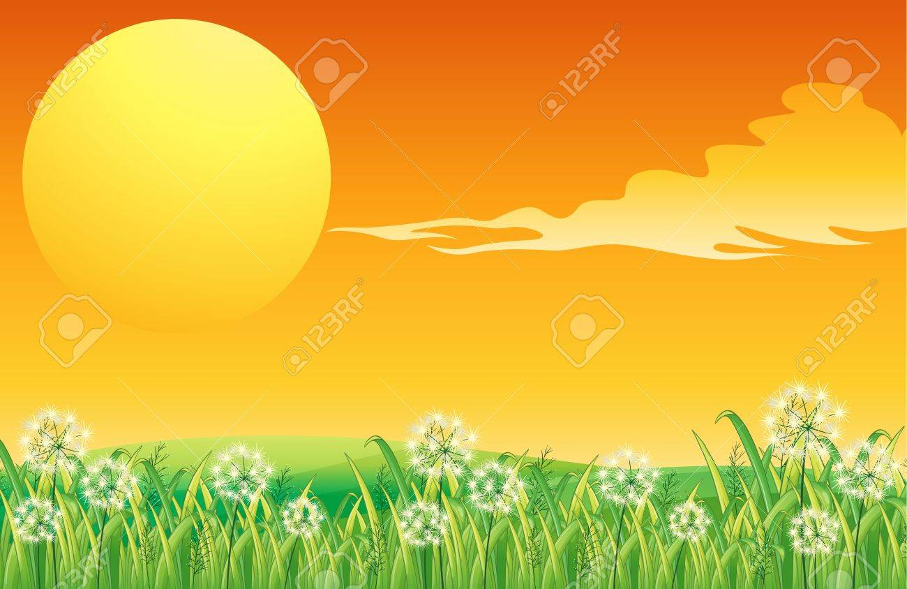 Illustration of a sunset scenery and the peacful hilltop Stock Vector - 18859713
