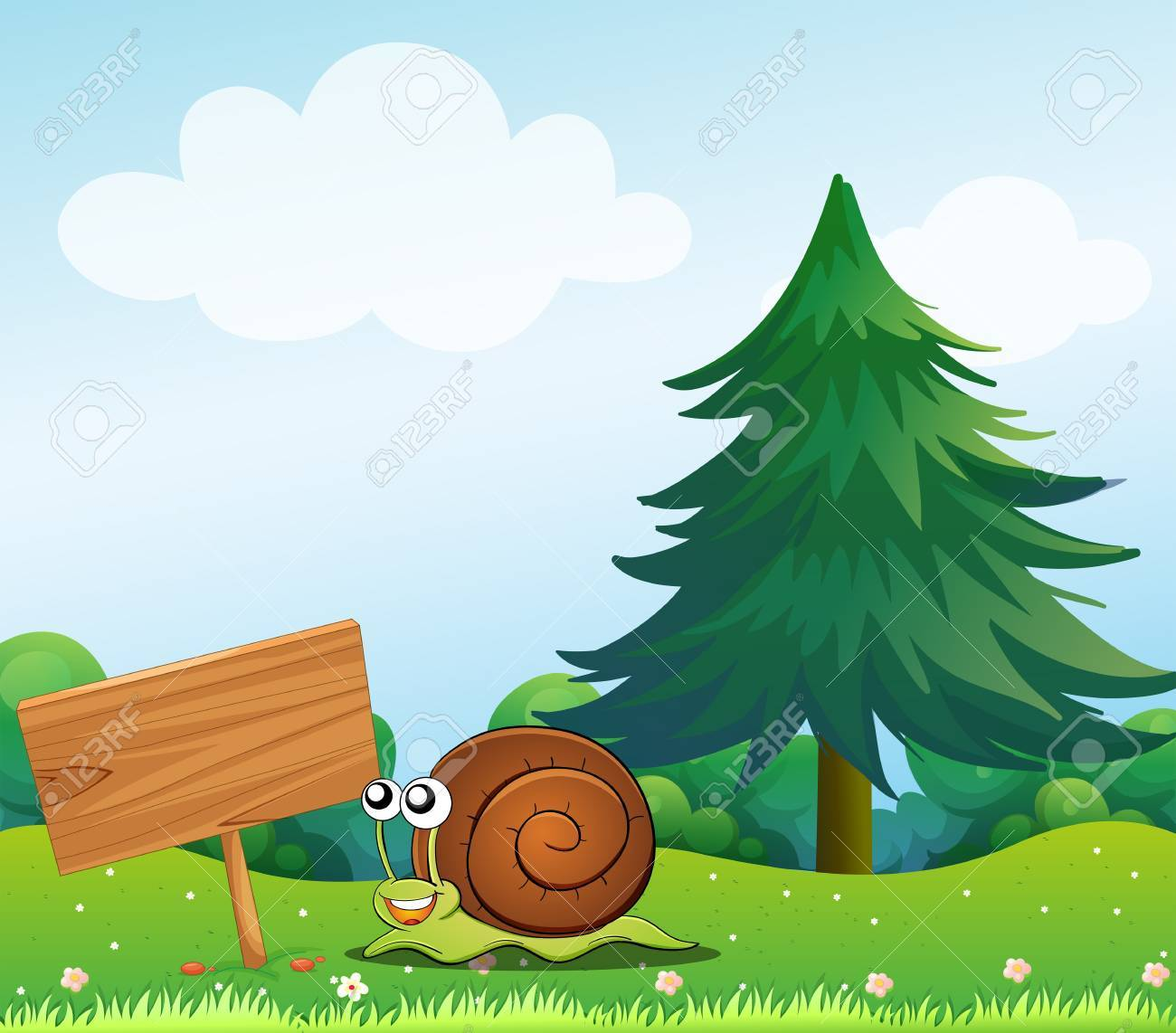 Illustration of a snail near the wooden signboard Stock Vector - 18859657