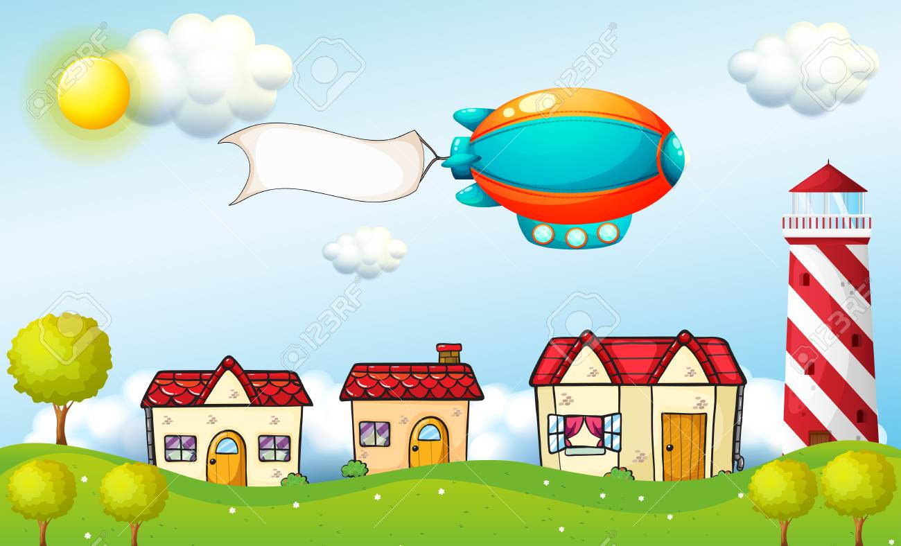Illustration of an aircraft with a signage above the village Stock Vector - 18859687