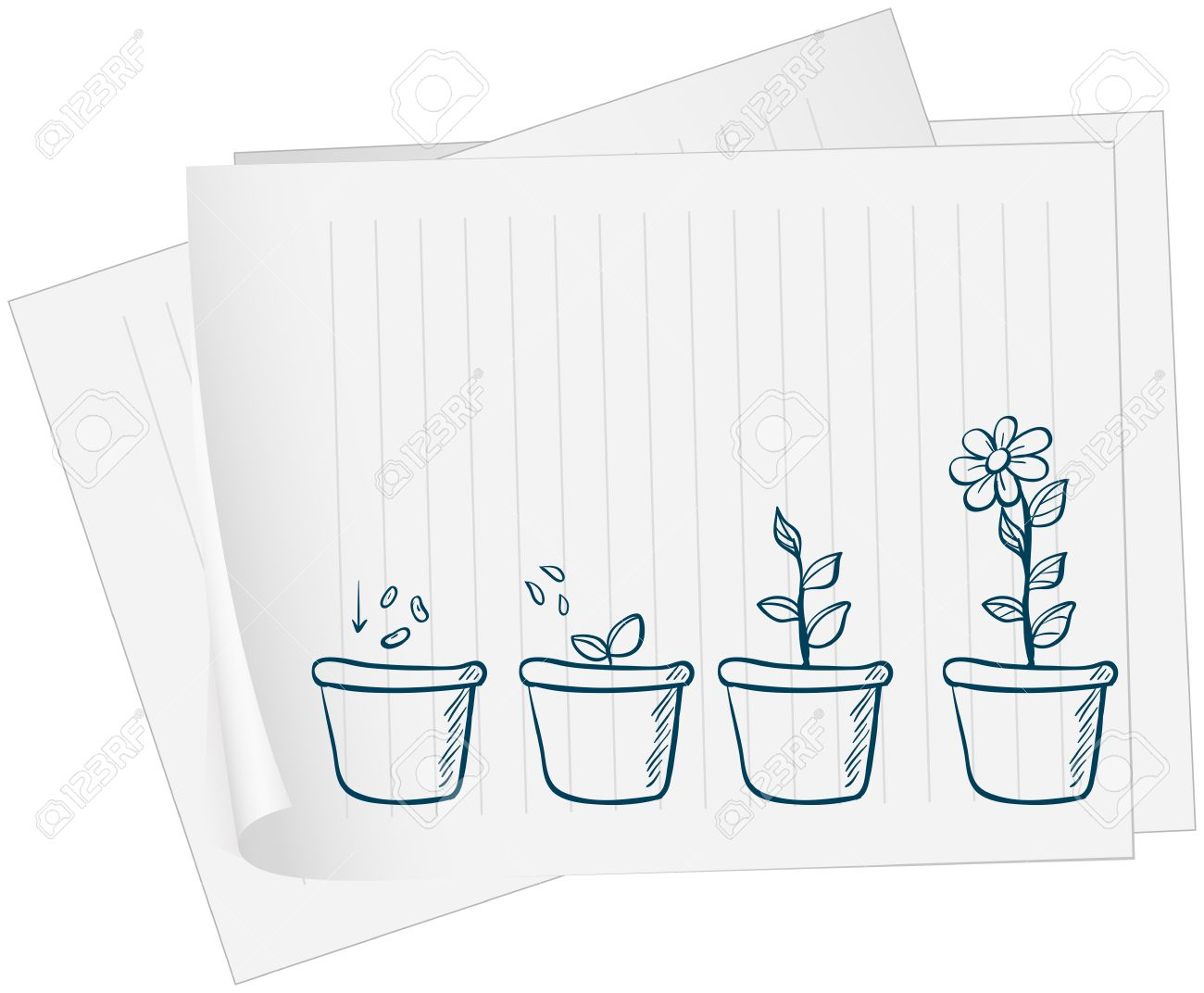 Illustration of a paper with a drawing of a growing plant on a white background - 18860219